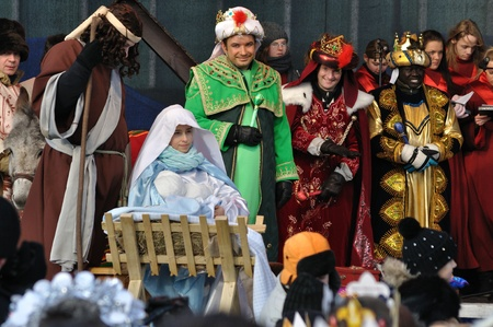 Warsaw, Poland - January 06, 2011 - Reenactment Nativity scene of Adoration of the Magi during the annual Three Kings Day Parade.