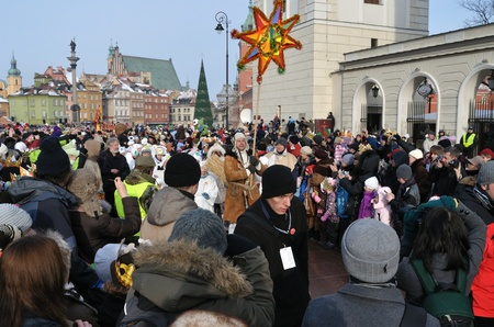 Warsaw, Poland - January 06, 2011 - Paraders march in the annual Three Kings Day Parade.
