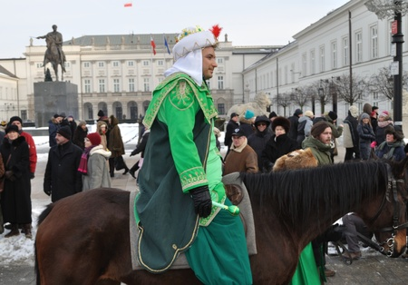 Warsaw, Poland - January 06, 2011 - A volunteer dressed as Gasper - one of the Three King during the annual Three Kings Day Parade.