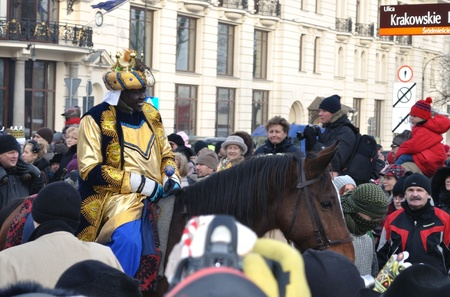Warsaw, Poland - January 06, 2011 - A volunteer dressed as Balthazar - one of the Three King during the annual Three Kings Day Parade.