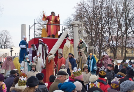 balthazar: Warsaw, Poland - January 06, 2011 - Reenactment biblical scene of the court of King Herod during the annual Three Kings Day Parade.