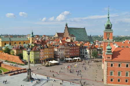 historical landmark: Aerial view of the Warsaws old town. Poland Stock Photo