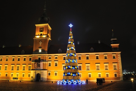 Warsaw, Poland - december 11, 2009 - christmas tree on the Castle Square.