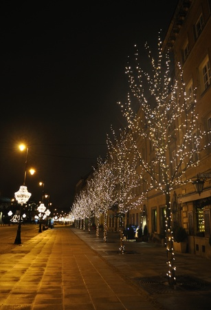 Warsaw, Poland - december 11, 2009 - christmas decorations in the streets of Warsaw.