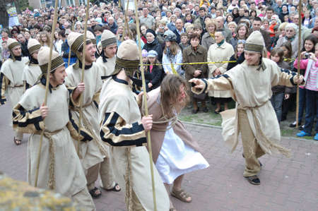 Gora Kalwaria, Poland - April 17, 2011 - Actors reenact scene of Jesus brought to Pilate by the Sanhedrin, during the street performances Mystery of the Passion. Stock Photo - 12676632