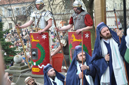 legionaries: Gora Kalwaria, Poland - April 17, 2011 - Reenactment of the Roman legionaries and Sanhedrin members, during the street performances Mystery of the Passion.