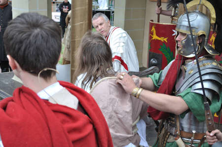 Gora Kalwaria, Poland - April 17, 2011 - Actors reenact the trial of Jesus in praetorium before Pontius Pilate, during the street performances Mystery of the Passion Stock Photo - 12676634