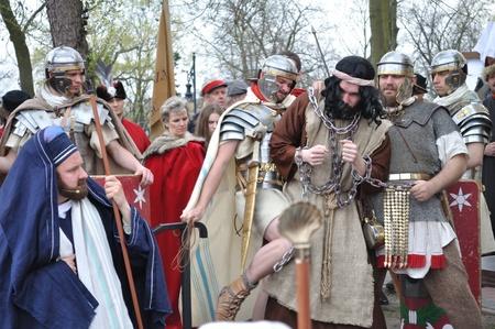 Gora Kalwaria, Poland - April 17, 2011 - Actors reenact the trial of Barabbas in praetorium before Pontius Pilate, during the street performances Mystery of the Passion. Stock Photo - 12690701
