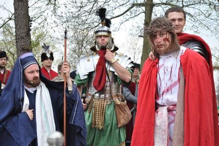 Gora Kalwaria, Poland - April 17, 2011 - Actors reenact the trial of Jesus in praetorium before Pontius Pilate, during the street performances Mystery of the Passion. Stock Photo - 12690700