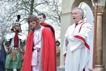 Gora Kalwaria, Poland - April 17, 2011 - Actors reenact the trial of Jesus in praetorium before Pontius Pilate, during the street performances Mystery of the Passion. Stock Photo - 12768499