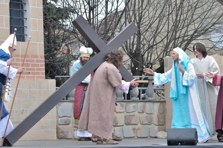 Gora Kalwaria, Poland - April 17, 2011 - Jesus meets His Mother on the way to crucifixion, during the street performances Mystery of the Passion.