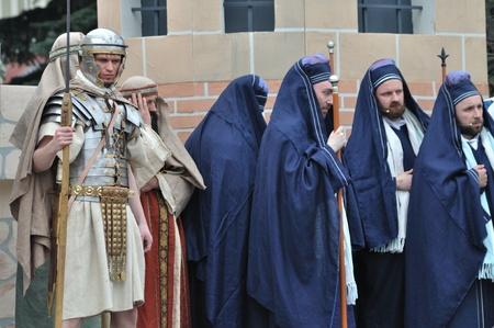 Gora Kalwaria, Poland - April 17, 2011 - Reenactment of the Roman legionaries and Sanhedrin members, during the street performances Mystery of the Passion. Stock Photo - 12779098