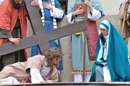 Gora Kalwaria, Poland - April 17, 2011 - Jesus meets Veronica on the way to his crucifixion, during the street performances Mystery of the Passion.