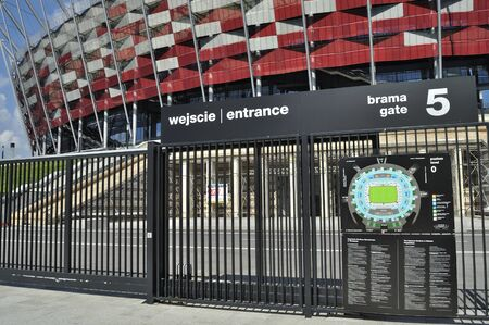 venues: Warsaw, Poland - May 20, 2012 - Entrance to the National Stadium. The stadium is one of the venues for the UEFA Euro 2012 hosted jointly by Poland and Ukraine.  Editorial