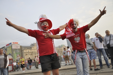 Warsaw, Poland - June 12, 2012 - Poland fans at the Warsaw street during the UEFA EURO 2012 Group A match against Russia. Editorial