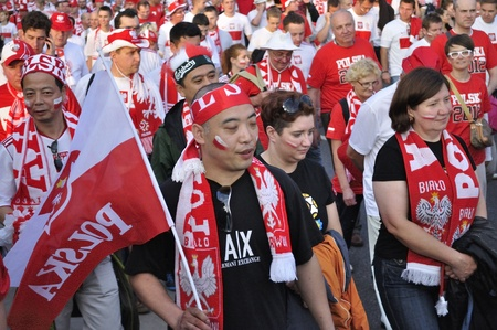Warsaw, Poland - June 8, 2012 - Poland fans at the Warsaw street after the UEFA EURO 2012 Group A match against Greece.