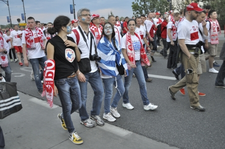 Warsaw, Poland - June 8, 2012 - Poland and Greece fans at the Warsaw street after the UEFA EURO 2012 Group A match against Greece.