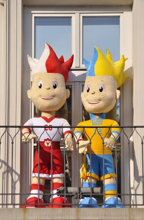 Warsaw, Poland - June 24, 2012 - Slawek and Slavko, the UEFA Euro 2012 mascots standing on the balcony of Presidential Palace.