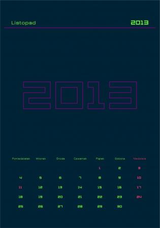 Monthly calendar in Polish - November 2013  Week starts on Monday  Vector