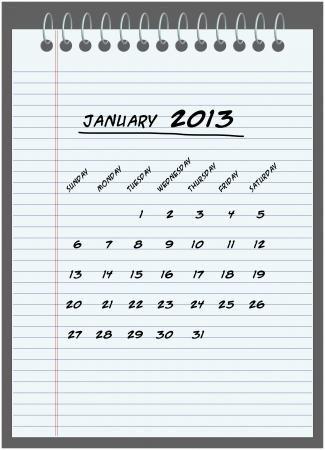 maandkalender - januari 2013