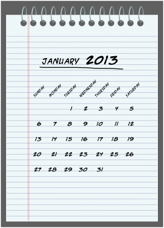 spiral binding: monthly calendar - January 2013 Illustration
