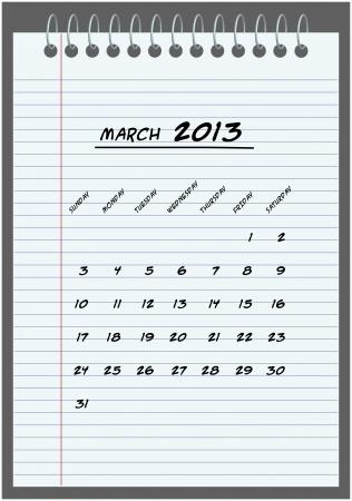 monthly calendar - March 2013 - hand-written in the notebook  Vector