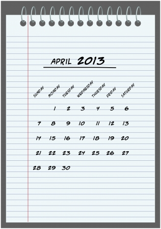 monthly calendar - April 2013 - hand-written in the notebook  Vector