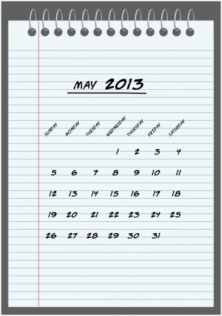 monthly calendar - May 2013 - hand-written in the notebook  Vector