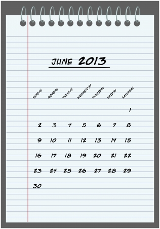 monthly calendar - June 2013 - hand-written in the notebook  Vector