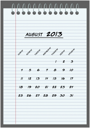 monthly calendar - August 2013 - hand-written in the notebook  Stock Vector - 14792759