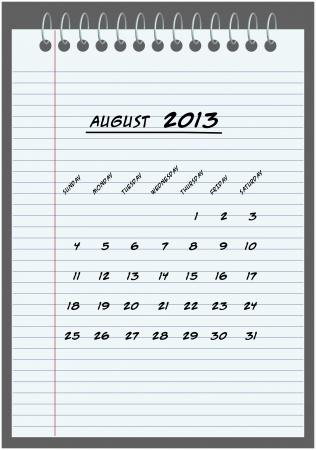 monthly calendar - August 2013 - hand-written in the notebook Stock Vector - 14792759