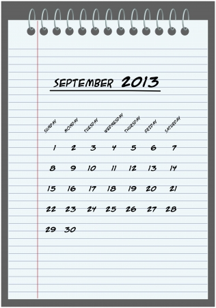 monthly calendar - September 2013 - hand-written in the notebook  Vector