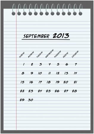 monthly calendar - September 2013 - hand-written in the notebook Stock Vector - 14792762