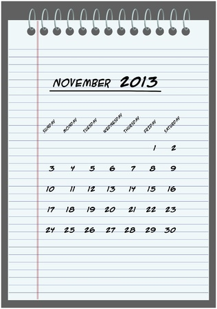 monthly calendar - November 2013 - hand-written in the notebook  Vector