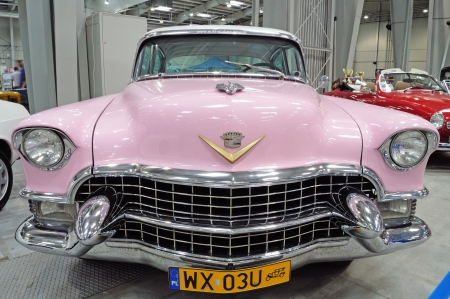 Warsaw, Poland - May 29, 2011 - Cadillac Fleetwood Sixty Special (1955) on display at the classic car exhibition MOTO NOSTALGIA.