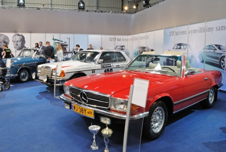 Warsaw, Poland - May 29, 2011 - A collection of Mercedes cars, on the occasion of 125 anniversary of the first vehicle of Carl Benz at the classic car exhibition MOTO NOSTALGIA.