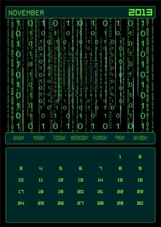electronic organiser: Monthly calendar - November 2013