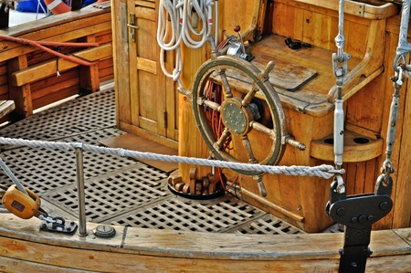 Classic wooden yacht deck photo