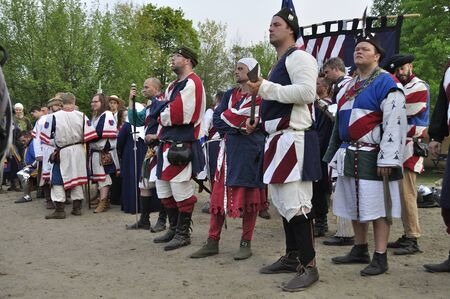 Warsaw, Poland - May 03, 2012 - U.S. team is waiting to start the awards ceremony during The International Festival of the Middle Ages