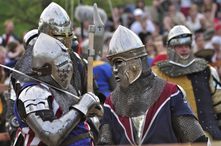 Warsaw, Poland - May 03, 2012 - Unidentified participants waiting for the battle during the International Festival of the Middle Ages