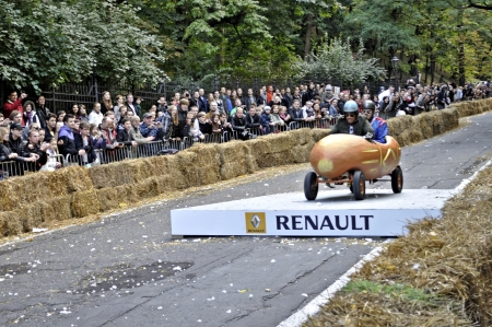 Warsaw, Poland - September 23, 2012 - Unidentified competitor rides his homemade vehicle during the Red Bull Soapbox Race.
