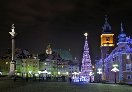 Christmas tree in Warsaw, Poland Stock Photo