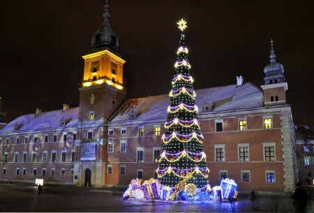 Christmas tree in Warsaw, Poland Stock Photo - 16911607