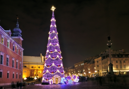 Christmas tree in Warsaw, Poland Stock Photo