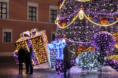 Warsaw, Poland - December 14, 2012 - Christmas lights on the Old Town streets. Stock Photo - 16994361
