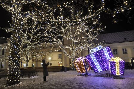 Warsaw, Poland - December 14, 2012 - Christmas lights on the Hoover Square. Stock Photo - 16994363