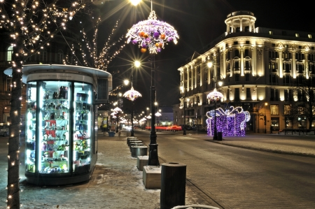 Warsaw, Poland - December 14, 2012 - Christmas lights on Krakowskie Przedmiescie street. Stock Photo - 16994362