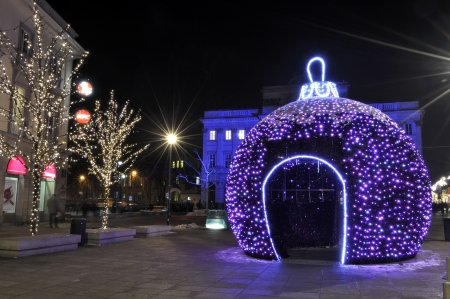 Warsaw, Poland - December 14, 2012 - Christmas lights on Krakowskie Przedmiescie street. Stock Photo - 16994358