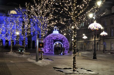 Warsaw, Poland - December 14, 2012 - Christmas lights on Krakowskie Przedmiescie street.  Stock Photo - 16994359