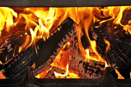 Burning wood in the fireplace Stock Photo - 17092184